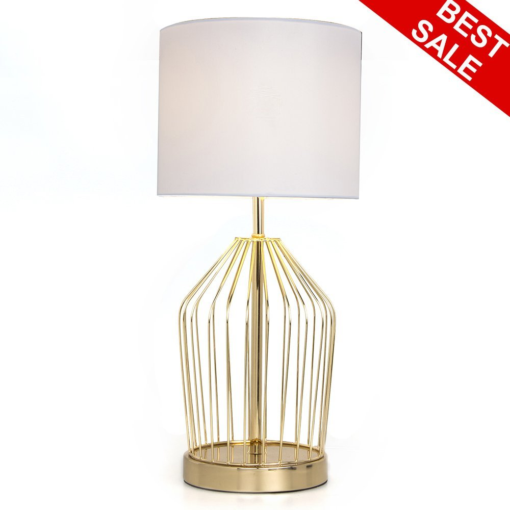 SOTTAE Big Golden Hollowed Out Base Living Room Bedroom Bedside Table Lamp, Modern Style Desk Lamp With White Fabric Shade