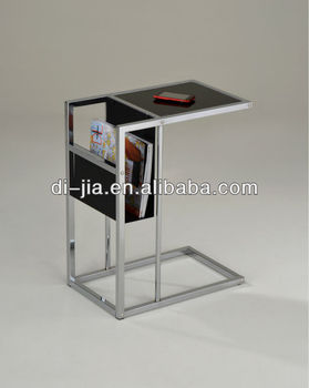 Metal Glass Side Table With Magazine Rack