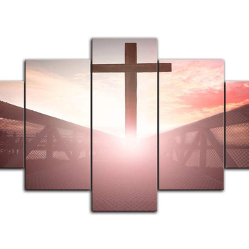 Large Christian Art Cross Wall Art Canvas Painting Print Poster 5 Panel On Blurry Sunset Background Painting Christian Wall Deco