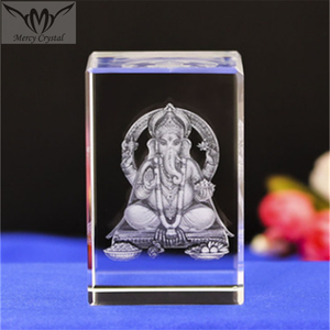 Elephant God Crystal 3D Glass Cube for India Love Souvenirs