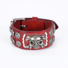 Halloween men Snap Genuine Wristband skull Red Leather bracelet bangles
