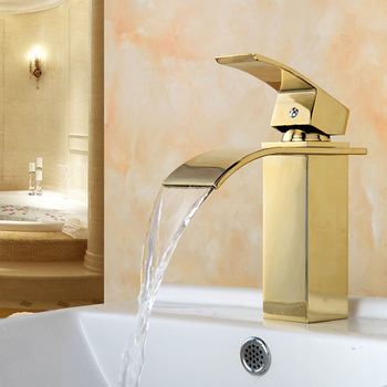 Bathroom basin waterfall faucet brass vintage square faucet