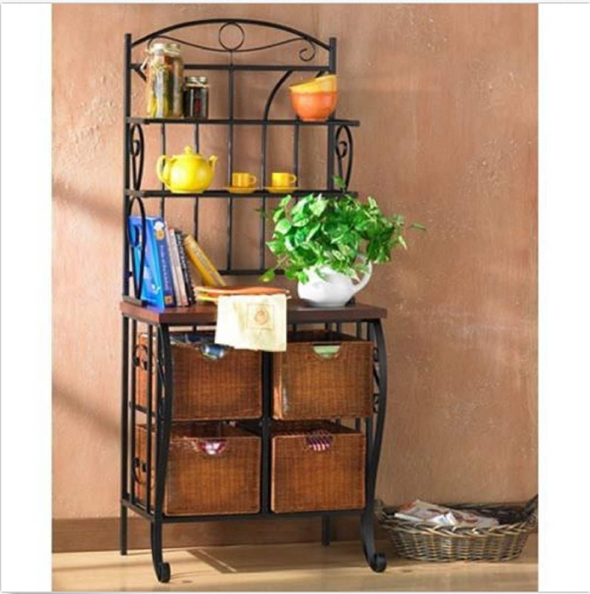 Bakers Classically styled, iron framed bakers rack Rack Storage Kitchen Metal Shelf Baker Stand Shelves Wine Iron Wicker Includes 4 wicker baskets for storage