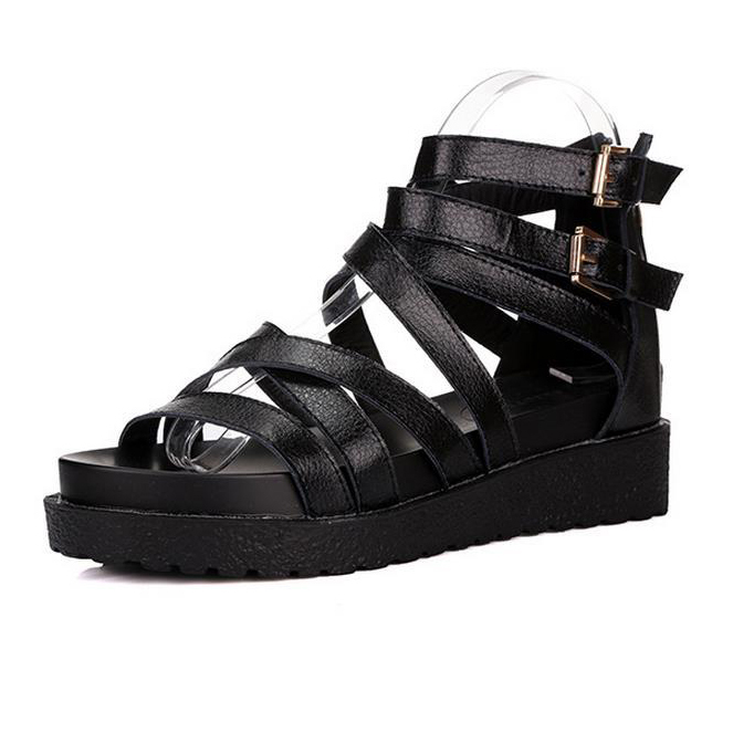 e11003124 Get Quotations · Women Flat Sandals 2015 Comfortable Black White Platform  Gladiator Sandals High Heels Wedge Flip Flops Rome