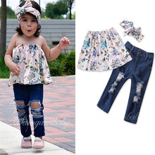2PCS Set Baby Girls Kids Outfits Casual flower Off Shoulder sleeveless Tops T Shirt+Ripped Jeans Set Clothes
