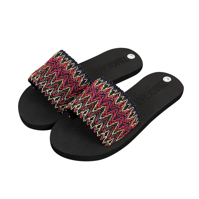 Sunbona Beach Slippers for Women,Ladies Summer National Style Open Toe Flip Flops Flat Sandals Indoor Outdoor Shoes