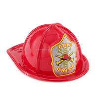 Child Size Red Plastic Fire Chief Hat Halloween Party Plasticfireman Helmet Hat HT2946
