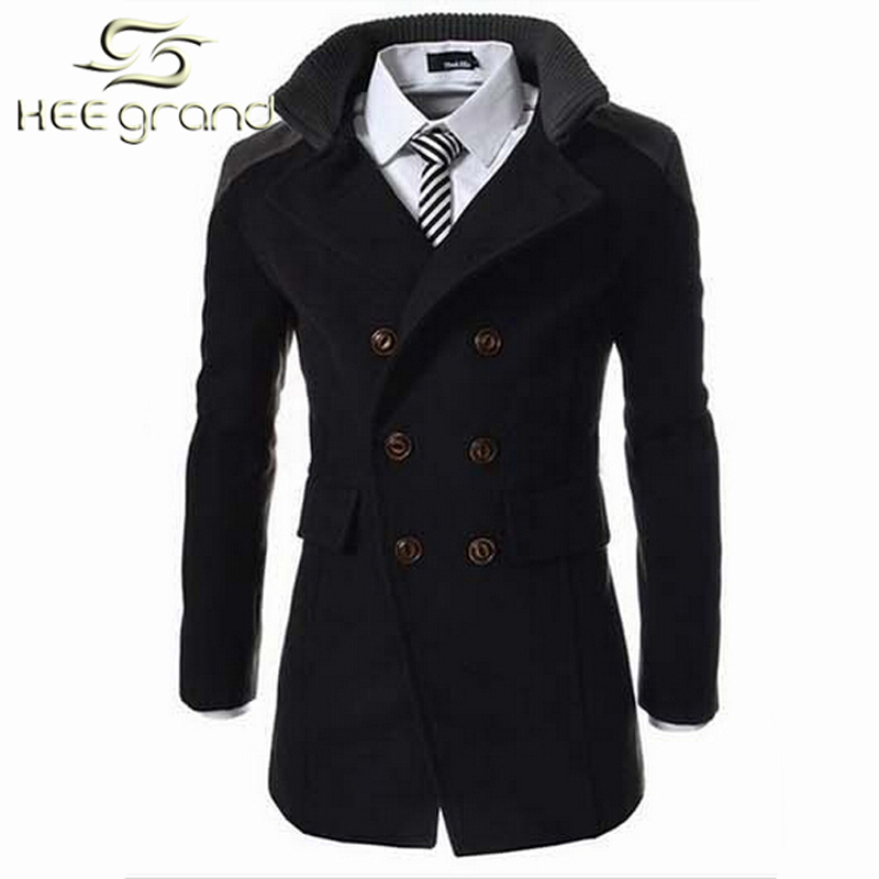 ef314b270f9 Get Quotations · 2015 Fashion Men s Winter Coat Turn-down Collar Wool  Blends Warm Men s Pea Coat Double