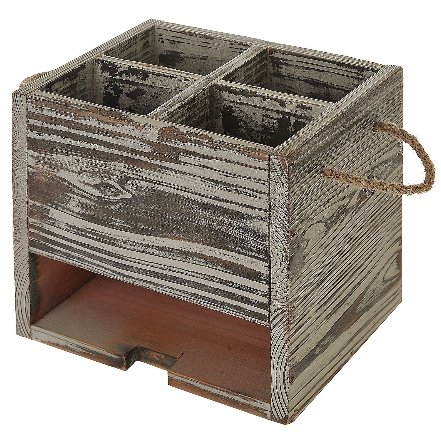 Wood Kitchen Dining Utensil Organizer Caddy with Napkin Holder 4 Compartment