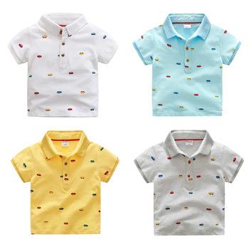 babb22635 High Quality Cotton Summer Boys Clothes Kids Cartoon Printed Polo Shirts