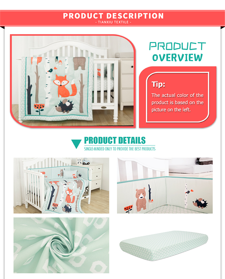 Water green fox theme print crib set polyester baby bedding set