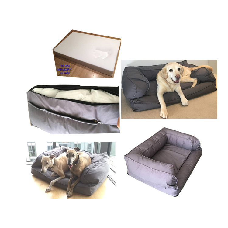Factory wholesale hond sofa memory foam bed met rits