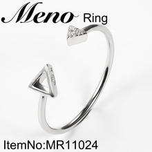 Meno fashion small rings 925 silver triangle shape open ring for women jewelry