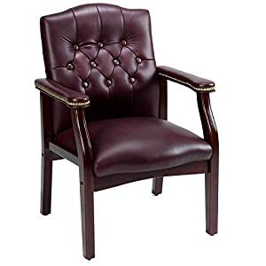 Get Quotations · Office Guest Chair By Boss Features Traditional Executive  Burgundy Bonded Leather, Wood Frame, Seat