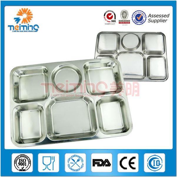 bulk stainless steel square divided dinner <strong>plate</strong>