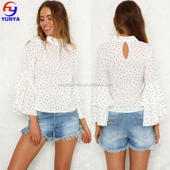 2017 latest fashion woman top design ladies long sleeve white polka dot blouses and tops