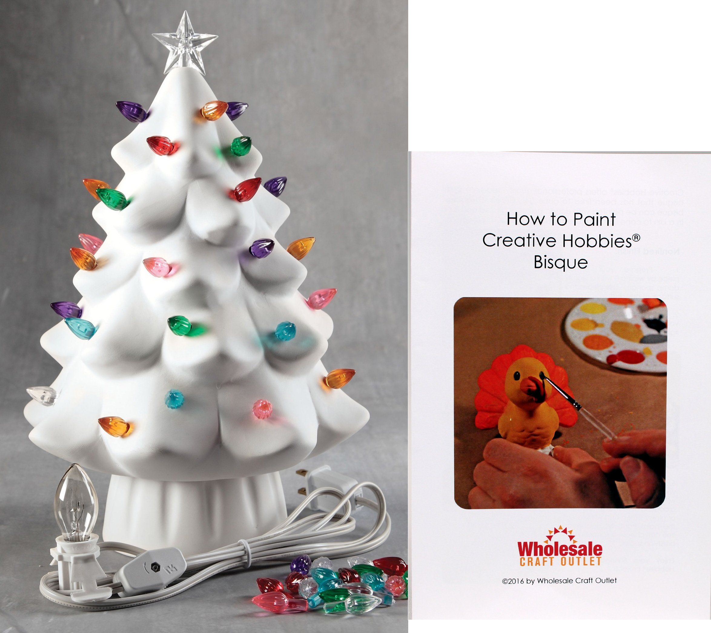 Creative Hobbies 11 Inch Tall Ceramic Bisque Light Up Christmas Tree, Ready To Paint, Includes Electrical Cord, Bulb, Twist Lites, Star, How To Paint Ceramic Booklet.