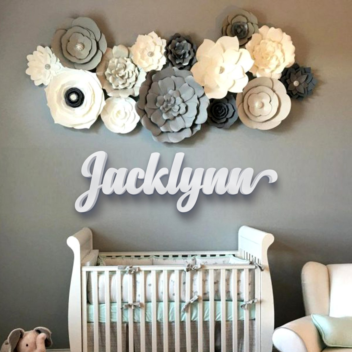 Get Quotations Nursery Letters Baby Wall Hanging In Script Font Name Sign