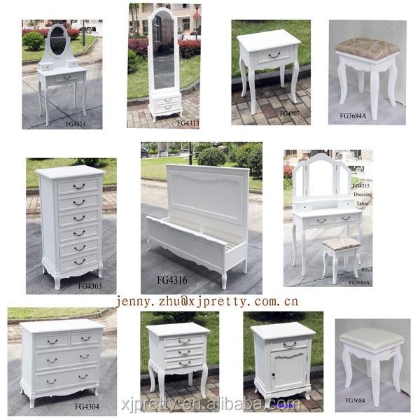 Francés Muebles De Dormitorio Blanco Tocador Set/pecho/soporte Del ...