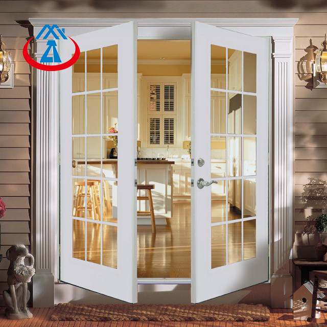 product-Surface Finished Aluminum Frame Tempered Glass Interior KitchenFrench Swing Door-Zhongtai-im
