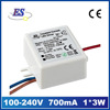 3W 5V 700mA AC-DC Constant Current Small Size Waterproof LED Driver with CE approved,1*1W 2*1W 1*3W LED DRIVER