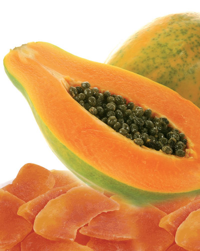 Papaya seca, natural de naranja, rico en hidratos de carbono