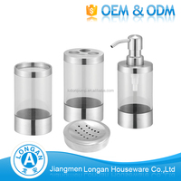 Factory Custom wholesale price fashion stainless steel hotel balfour soap dispenser bathroom set china