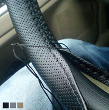 High Quality Auto Leather DIY Car Steering Wheel Covers With Needles and Thread