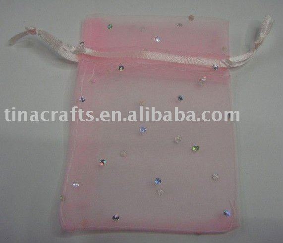 Pink organza bag with stone