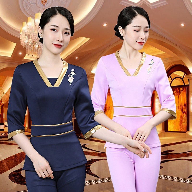 Factory manufacture beauty nail salon uniform Fashion design sexy slim fit women uniform staff workwear OEM support фото