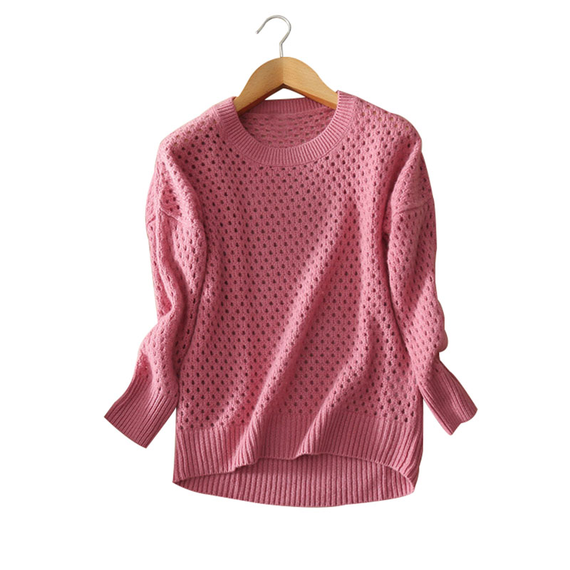 Women s slim fitting pullovers O neck full sleeve sweater 100 pure cashmere hollow out font