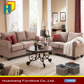 French Linen Fabric Chesterfield 321 Sofa Sectional 3 2 1