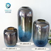 The best selling dark blue and silver black different style cylindrical shape small flat mouth crackle flower glass vase