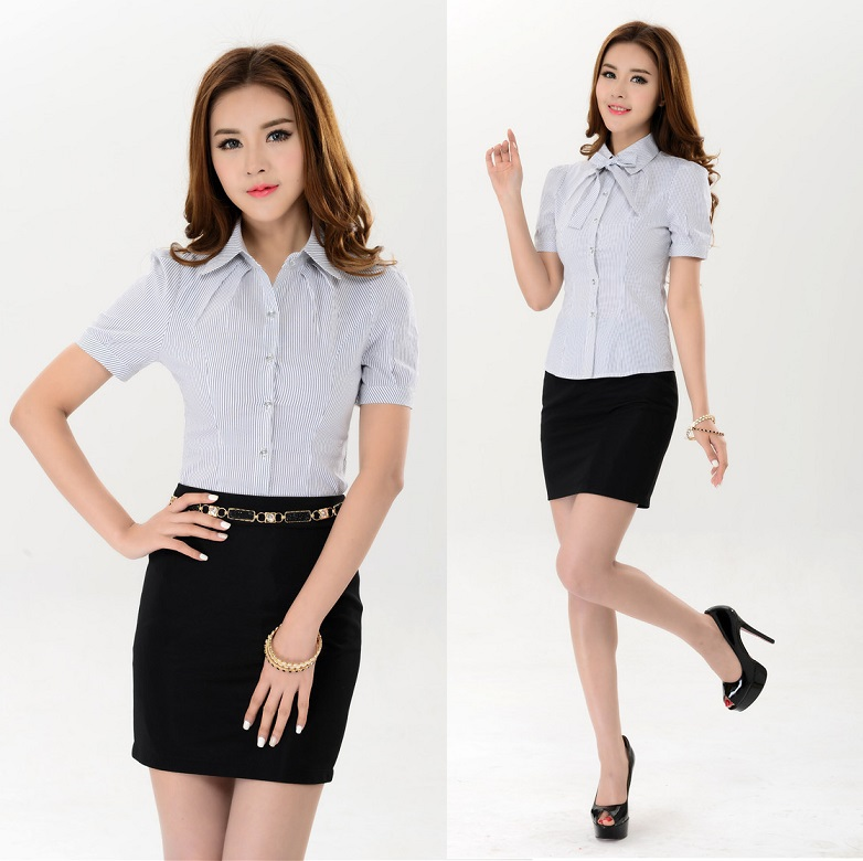 9892156950f Get Quotations · New 2015 Fashion Plus Size XXXL Spring Summer Business  Women Work Wear Blouses Suits With Skirt