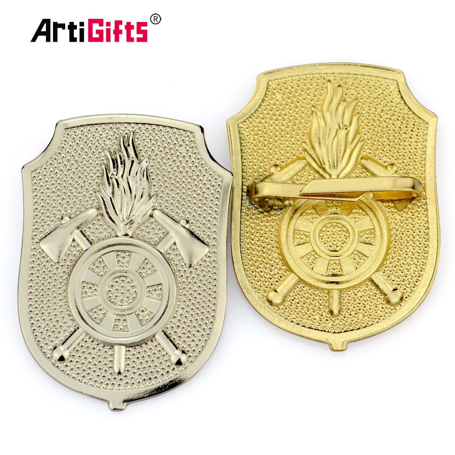 Engraved embossed custom logo zinc alloy metal bag badge for bag