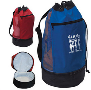 Round insulated sailor beach cooler back pack with cooler compartment