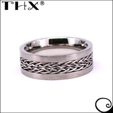 Fashon Cool Flat Tungsten Wedding Band With Braided Steel Chain Inlay