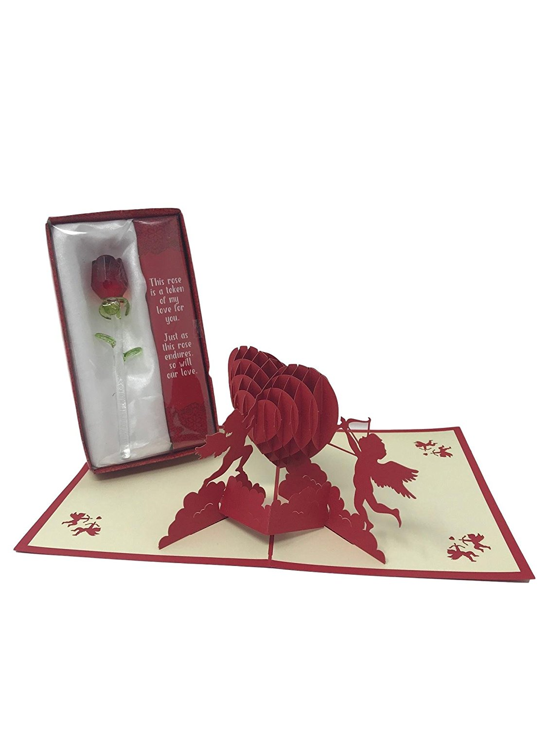 Valentines Day True Love Gift Set | Glass Rose Flower, & Poem | 3D Cupids Valentine Card | Perfect for Husband, Wife, Girlfriend, Boyfriend, Father, Mother, Partner