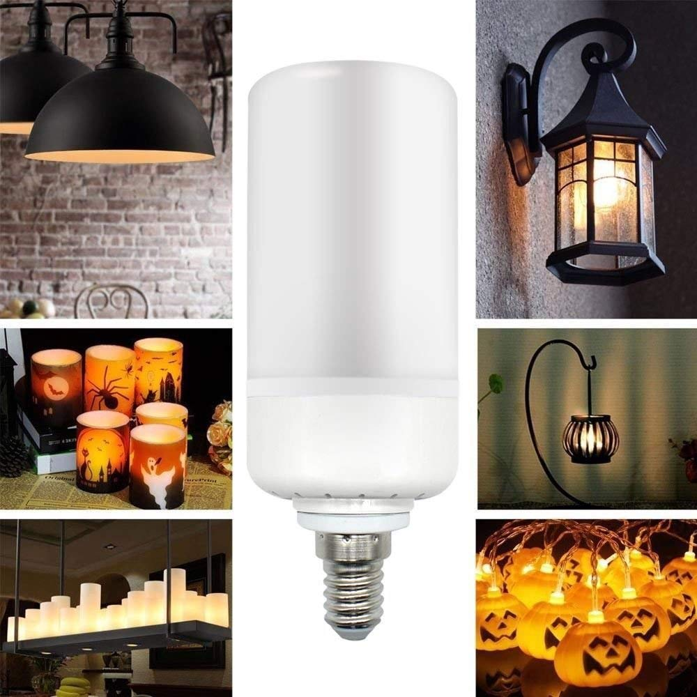 SODIAL E14 LED Burning Light Flicker Flame Lamp Bulb Fire Effect Decorative 99 Super Bright LED 360 degree Radiation angle AC85-265V