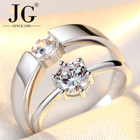 Couple wedding ring charm jewelry wholesale, 925 sterling silver top quality white zircon stone ring Men and women lovers rings