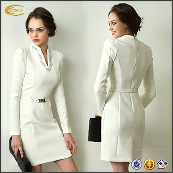 Latest Office Wear Designs V Neck Long Sleeve Formal Straight Dress