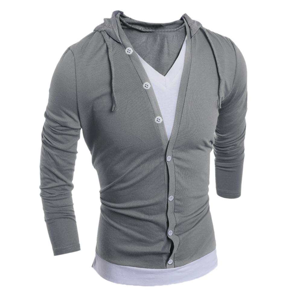 2a7cd29182fdfd 2019 Wholesale Fashion Men V Neck Long Sleeve Hooded Sweatshirt Men ...