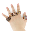 XULIN High quality Lampwork Glass Gold sand Rings made by hand with mix color mix size 12pcs/box