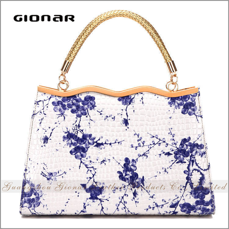 High Quality Elegant Gionar Brands Chinese Magazine Wholesale Leather Custom Print Clutch Bag