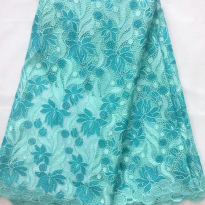 New Arrived Blue Stone Embroidery Tulle Lace /Net Lace / Hot Selling Soft African Guipure african Lace Fabric With rhinestone