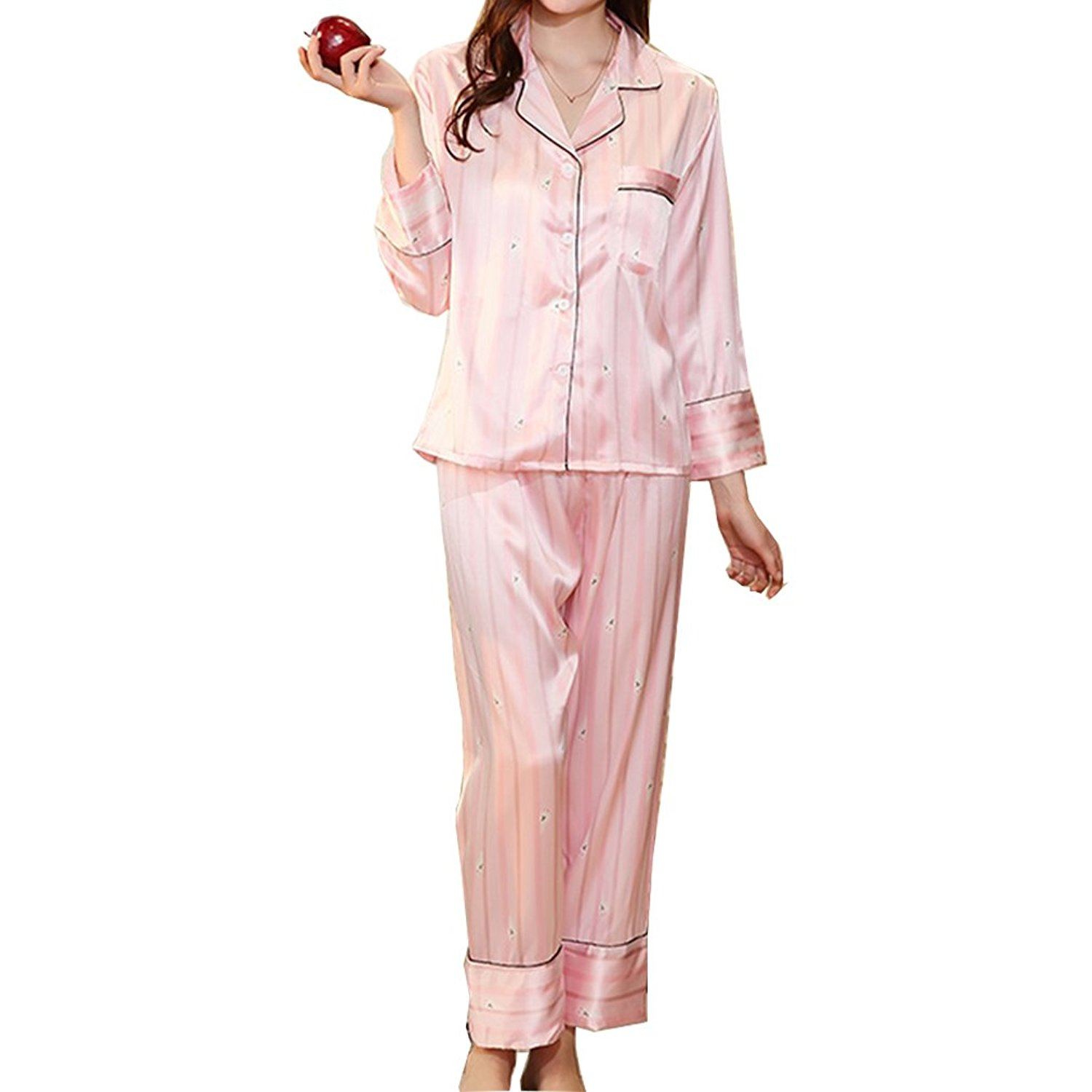 f84e223af5 Get Quotations · BOYANN Striped Rabbit Satin Pajamas Women s Long Sleeve Nightwear  Silk Sleepwear Pink