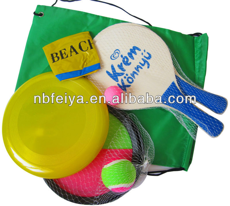 wooden rackets beach game sets