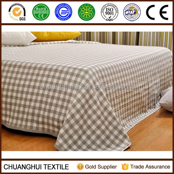 100% cotton grid bed sheet multifuntional blanket for summer