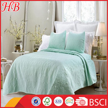 2016 new design factory cotton stiching quilt ,solid color home bed quilt set