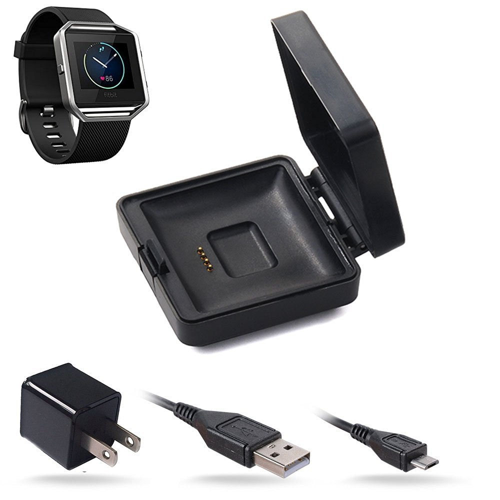 Yakamoz Replacement Charger Cradle Charging Dock for Fitbit Blaze Smart Fitness Watch Charger Cable Adapter with USB Cable Wall Adapter